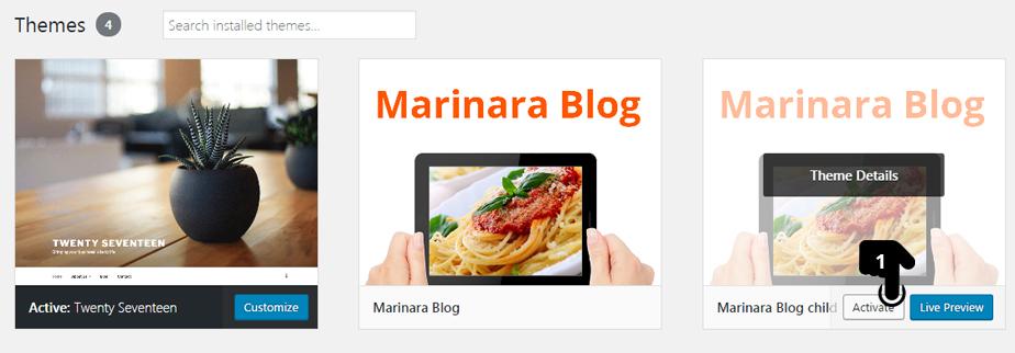 Upload Marinara Blog Theme