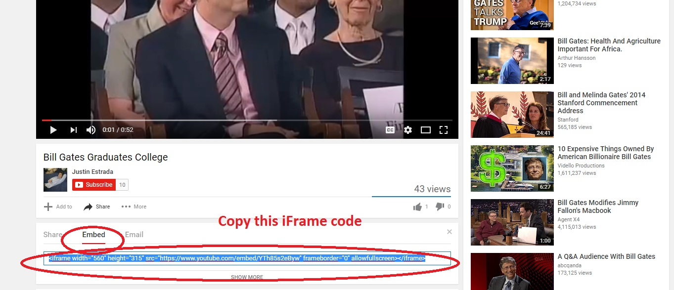 Embed Code YouTube Screenshot