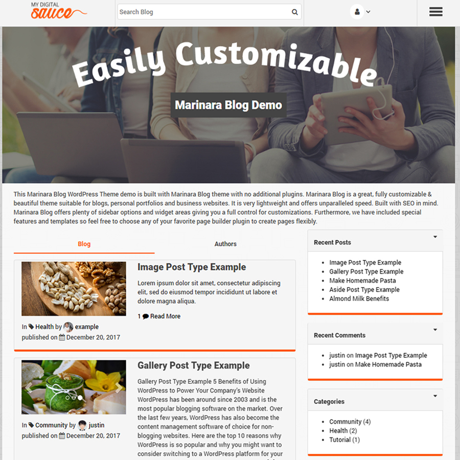 Marinara Blog WP Theme Screenshot