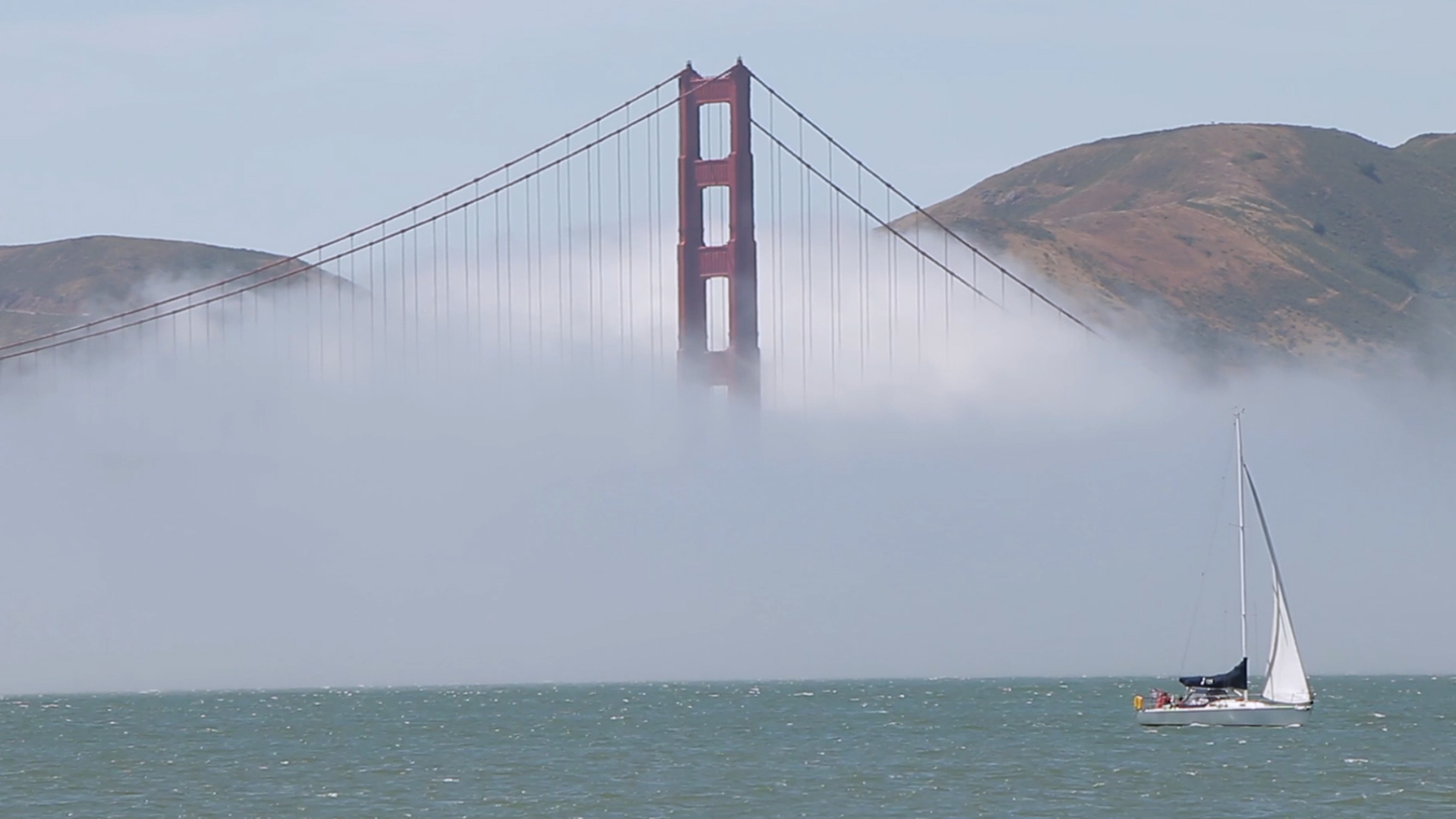 Golden Gate Bridge Sail Boat Fog